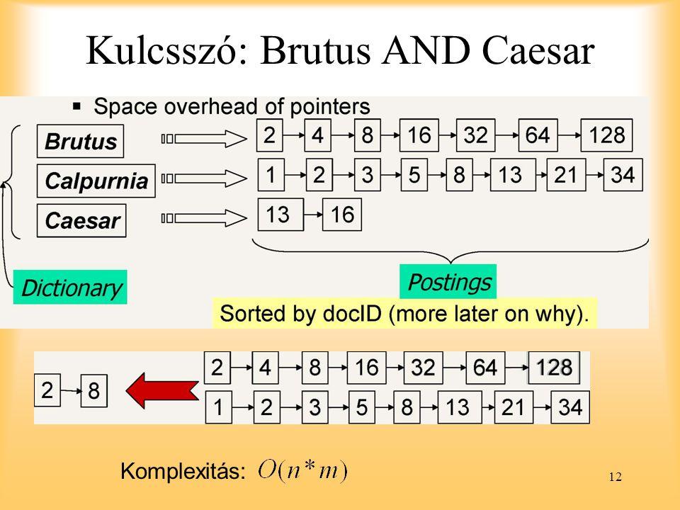 12 Kulcsszó: Brutus AND Caesar Komplexitás: