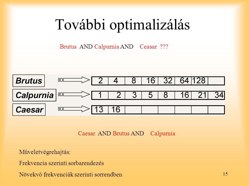 15 További optimalizálás Brutus AND Calpurnia AND Ceasar .