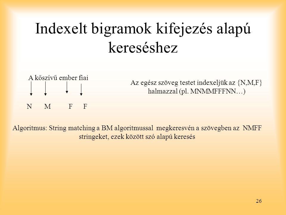 26 Indexelt bigramok kifejezés alapú kereséshez A kőszívű ember fiai N M F F Az egész szöveg testet indexeljük az {N,M,F} halmazzal (pl.