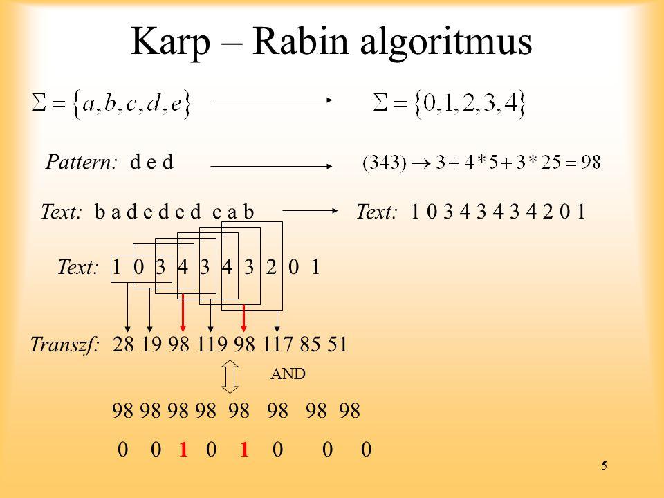 5 Karp – Rabin algoritmus Pattern: d e d Text: b a d e d e d c a bText: 1 0 3 4 3 4 3 4 2 0 1 Text: 1 0 3 4 3 4 3 2 0 1 Transzf: 28 19 98 119 98 117 85 51 98 98 98 98 98 98 98 98 AND 0 0 1 0 1 0 0 0