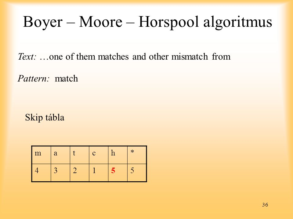 36 Boyer – Moore – Horspool algoritmus Text: …one of them matches and other mismatch from Pattern: match match* 432155 Skip tábla
