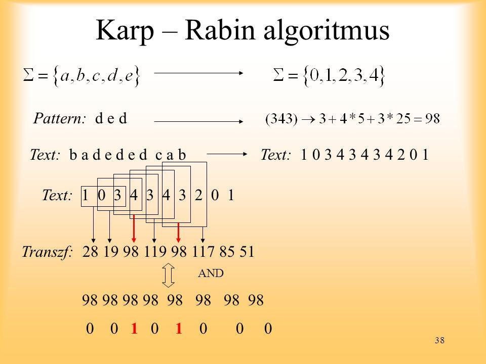 38 Karp – Rabin algoritmus Pattern: d e d Text: b a d e d e d c a bText: 1 0 3 4 3 4 3 4 2 0 1 Text: 1 0 3 4 3 4 3 2 0 1 Transzf: 28 19 98 119 98 117