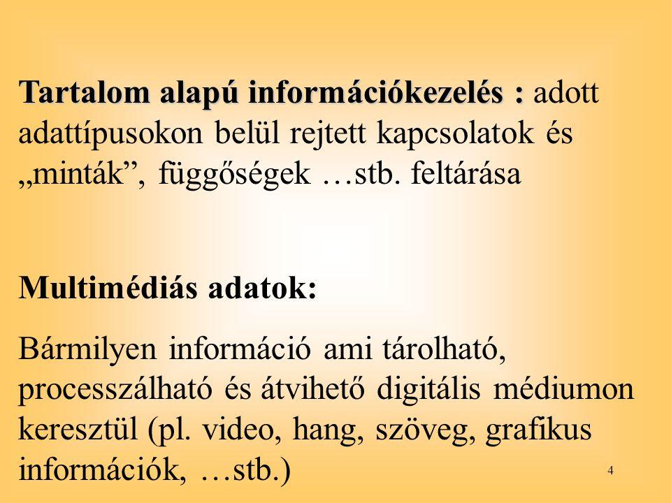 """4 Tartalom alapú információkezelés : Tartalom alapú információkezelés : adott adattípusokon belül rejtett kapcsolatok és """"minták"""", függőségek …stb. fe"""