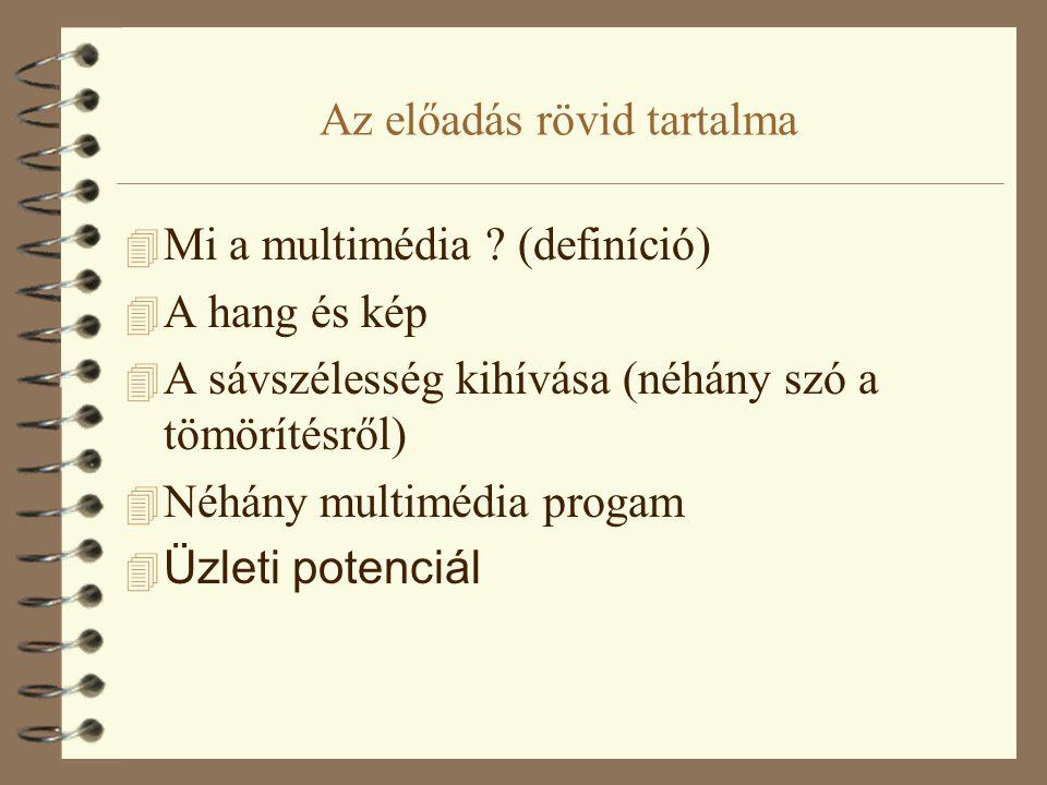 Az előadás rövid tartalma 4 Mi a multimédia ? (definíció) 4 A hang és kép 4 A sávszélesség kihívása (néhány szó a tömörítésről) 4 Néhány multimédia pr
