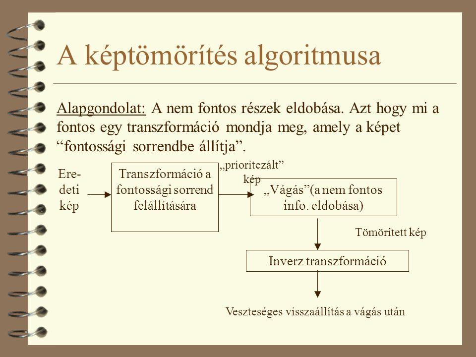 """A képtömörítés algoritmusa Alapgondolat: A nem fontos részek eldobása. Azt hogy mi a fontos egy transzformáció mondja meg, amely a képet """"fontossági s"""