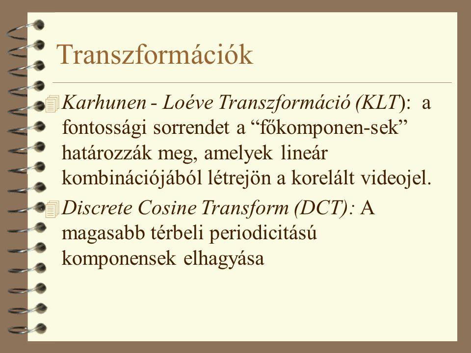 """Transzformációk 4 Karhunen - Loéve Transzformáció (KLT): a fontossági sorrendet a """"főkomponen-sek"""" határozzák meg, amelyek lineár kombinációjából létr"""