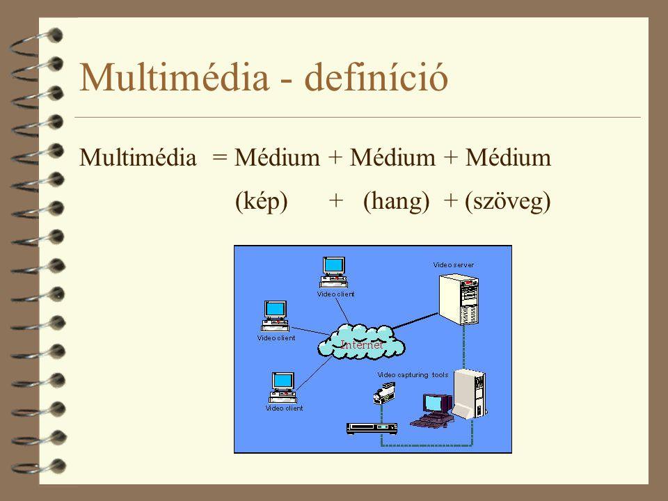 Multimédia - definíció Multimédia = Médium + Médium + Médium (kép) + (hang) + (szöveg)