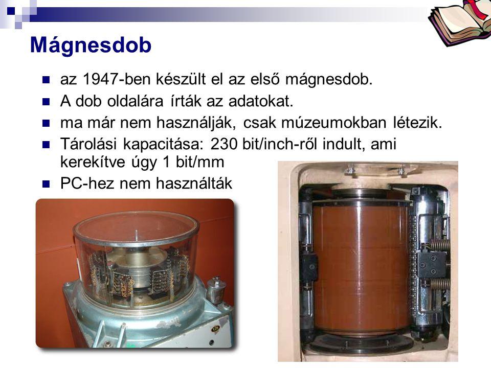 Bóta Laca Mágnesdob az 1947-ben készült el az első mágnesdob. A dob oldalára írták az adatokat. ma már nem használják, csak múzeumokban létezik. Tárol