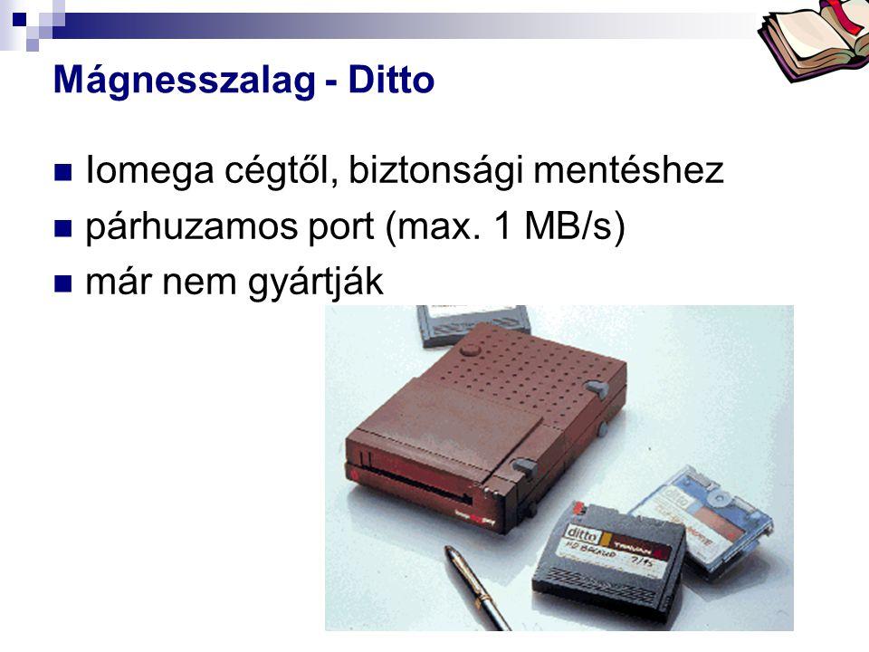 Bóta Laca Mágnesszalag - Ditto Iomega cégtől, biztonsági mentéshez párhuzamos port (max. 1 MB/s) már nem gyártják