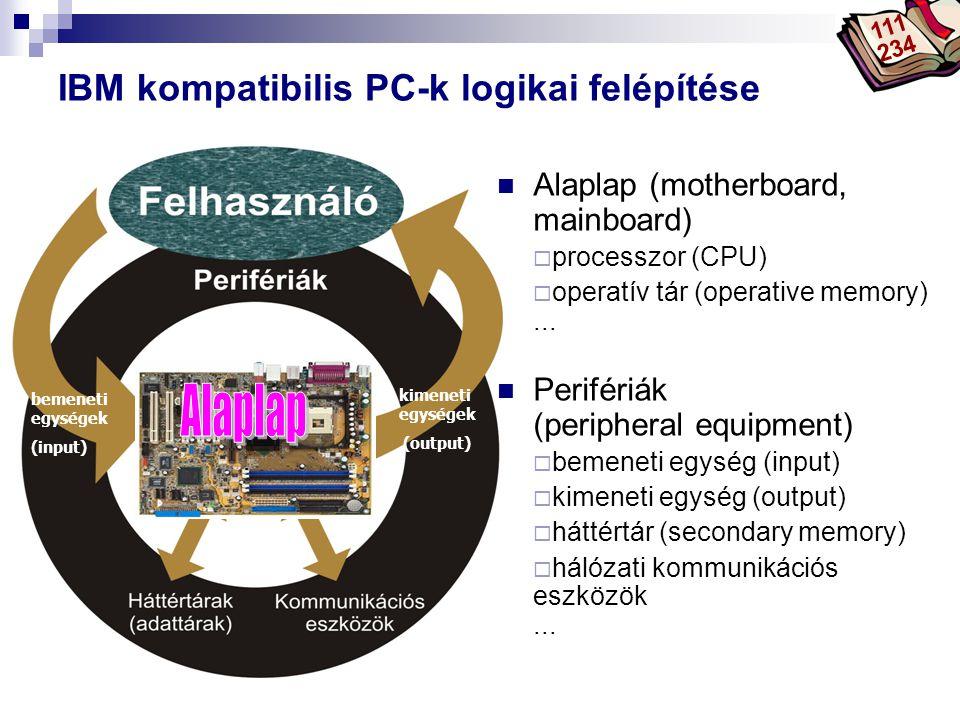 Bóta Laca bemeneti egységek (input) kimeneti egységek (output) IBM kompatibilis PC-k logikai felépítése Alaplap (motherboard, mainboard)  processzor