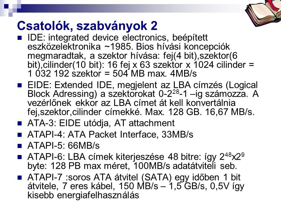 Bóta Laca Csatolók, szabványok 2 IDE: integrated device electronics, beépített eszközelektronika ~1985. Bios hívási koncepciók megmaradtak, a szektor