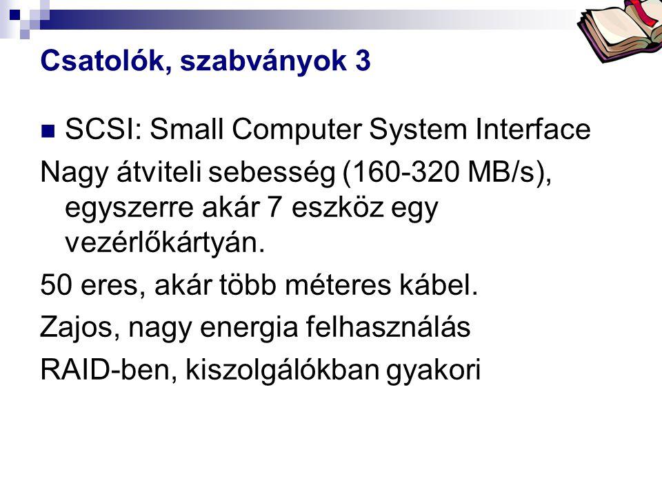 Bóta Laca Csatolók, szabványok 3 SCSI: Small Computer System Interface Nagy átviteli sebesség (160-320 MB/s), egyszerre akár 7 eszköz egy vezérlőkárty