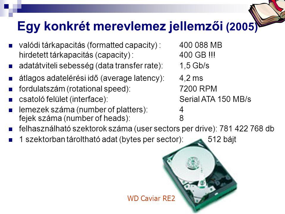 Bóta Laca Egy konkrét merevlemez jellemzői (2005) WD Caviar RE2 valódi tárkapacitás (formatted capacity) :400 088 MB hirdetett tárkapacitás (capacity)