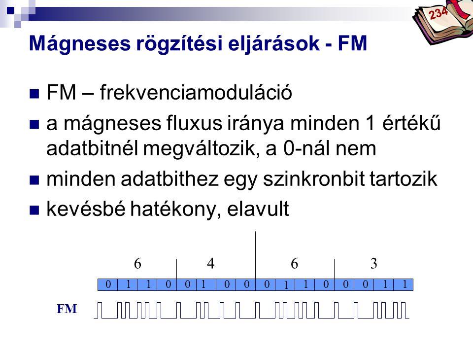 Bóta Laca Mágneses rögzítési eljárások - FM FM – frekvenciamoduláció a mágneses fluxus iránya minden 1 értékű adatbitnél megváltozik, a 0-nál nem mind