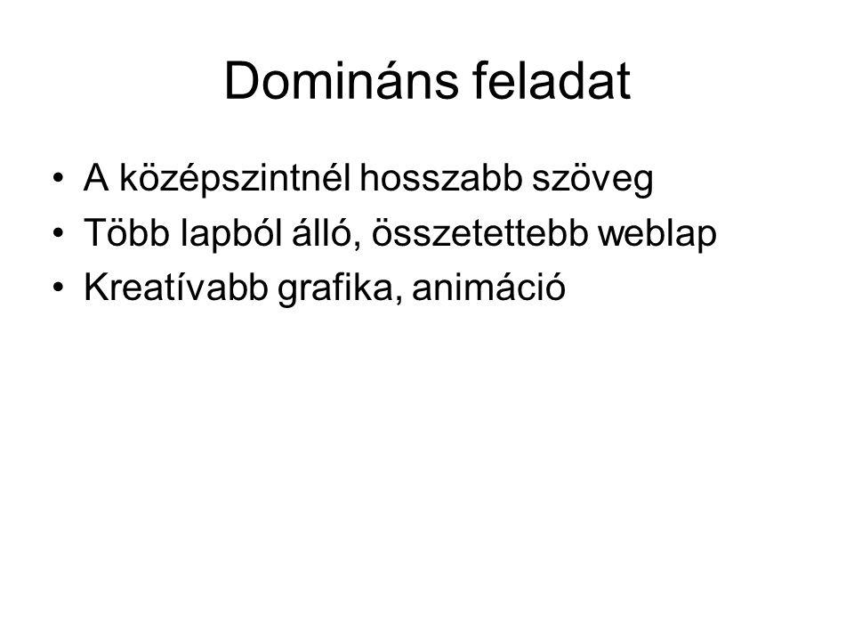Domináns feladat A középszintnél hosszabb szöveg Több lapból álló, összetettebb weblap Kreatívabb grafika, animáció