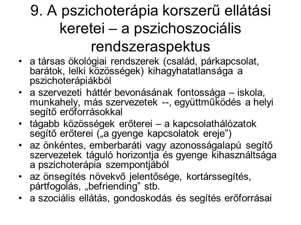 9. A pszichoterápia korszerű ellátási keretei – a pszichoszociális rendszeraspektus a társas ökológiai rendszerek (család, párkapcsolat, barátok, lelk