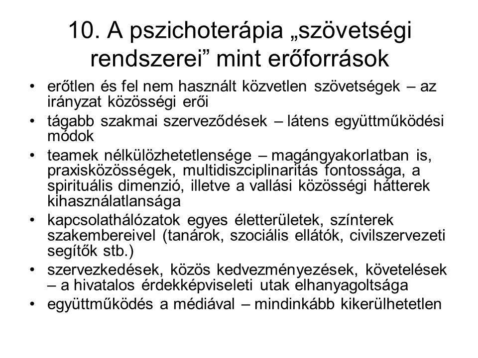 """10. A pszichoterápia """"szövetségi rendszerei"""" mint erőforrások erőtlen és fel nem használt közvetlen szövetségek – az irányzat közösségi erői tágabb sz"""