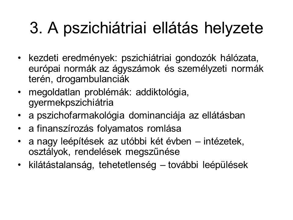 3. A pszichiátriai ellátás helyzete kezdeti eredmények: pszichiátriai gondozók hálózata, európai normák az ágyszámok és személyzeti normák terén, drog