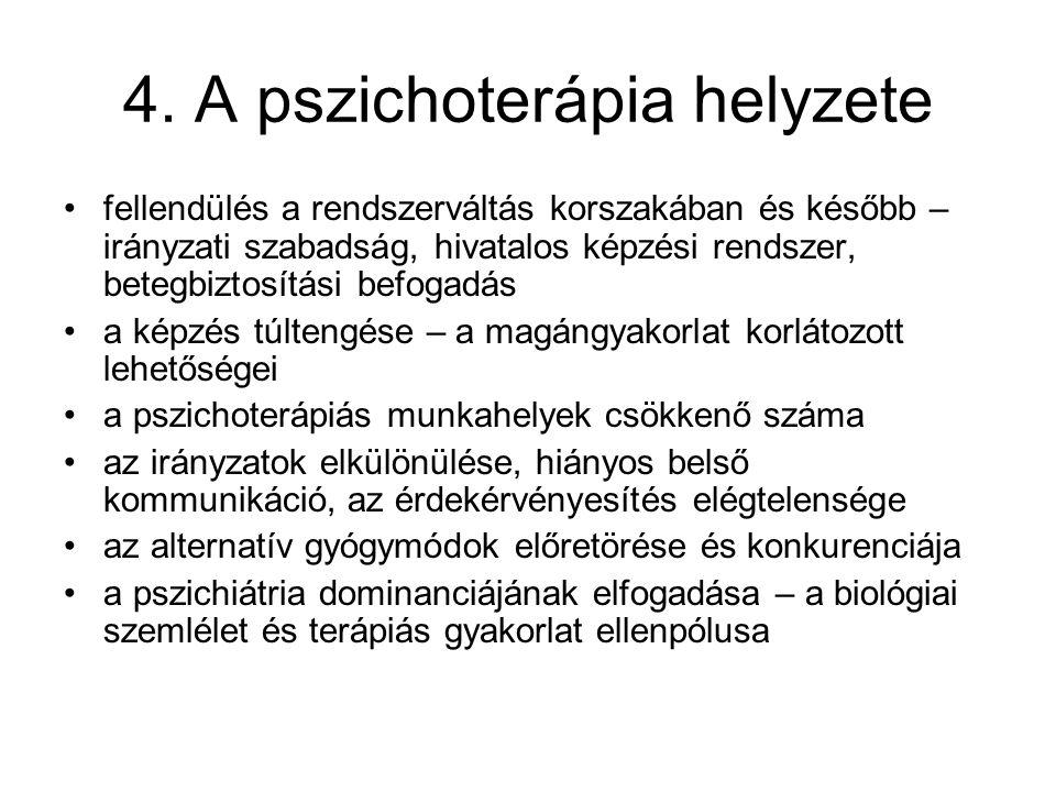 4. A pszichoterápia helyzete fellendülés a rendszerváltás korszakában és később – irányzati szabadság, hivatalos képzési rendszer, betegbiztosítási be