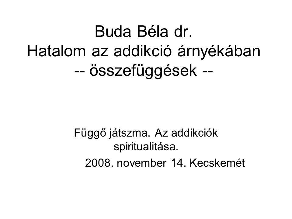 Buda Béla dr.Hatalom az addikció árnyékában -- összefüggések -- Függő játszma.