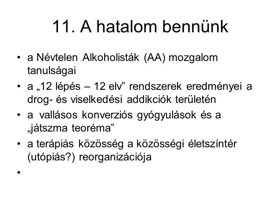 """11. A hatalom bennünk a Névtelen Alkoholisták (AA) mozgalom tanulságai a """"12 lépés – 12 elv"""" rendszerek eredményei a drog- és viselkedési addikciók te"""