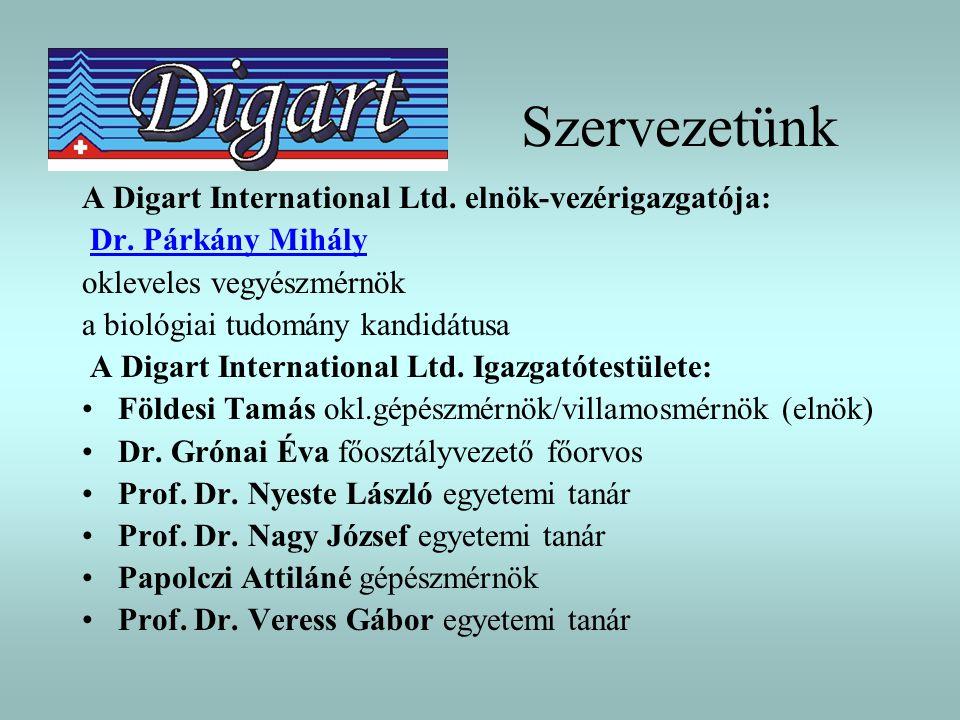Szervezetünk A Digart International Ltd. elnök-vezérigazgatója: Dr. Párkány Mihály okleveles vegyészmérnök a biológiai tudomány kandidátusa A Digart I