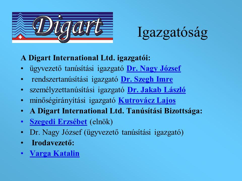 Igazgatóság A Digart International Ltd. igazgatói: ügyvezető tanúsítási igazgató Dr. Nagy József rendszertanúsítási igazgató Dr. Szegh Imre személyzet