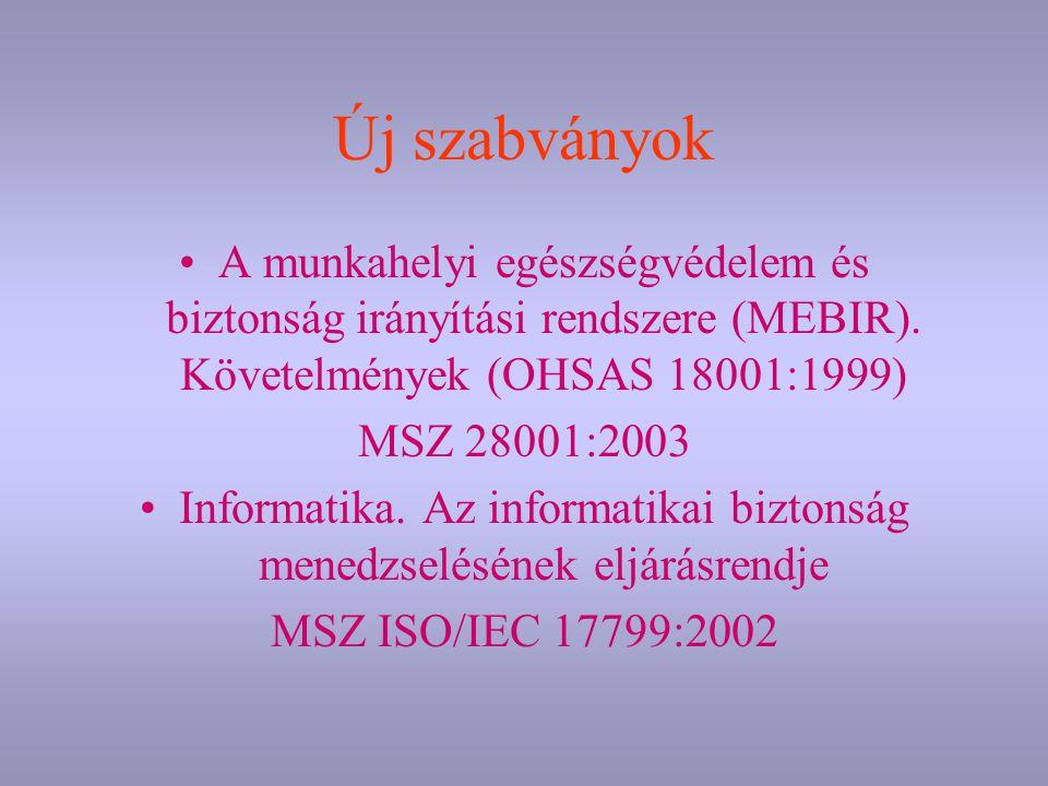 Új szabványok A munkahelyi egészségvédelem és biztonság irányítási rendszere (MEBIR). Követelmények (OHSAS 18001:1999) MSZ 28001:2003 Informatika. Az