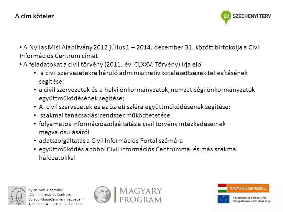 """Nyilas Misi Alapítvány """"Civil Információs Centrum Borsod-Abaúj-Zemplén megyében ÁROP 1.1.14 – 2012 – 2012 –0008 A cím kötelez A Nyilas Misi Alapítvány 2012 július 1 – 2014."""