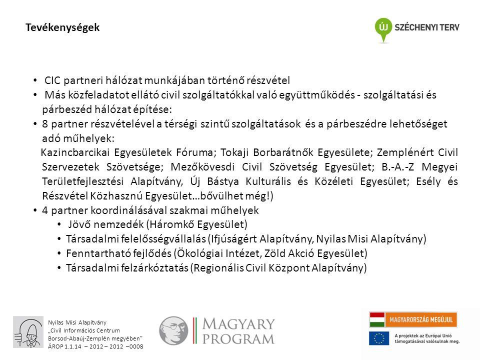 """Nyilas Misi Alapítvány """"Civil Információs Centrum Borsod-Abaúj-Zemplén megyében ÁROP 1.1.14 – 2012 – 2012 –0008 Köszönöm a figyelmet!"""