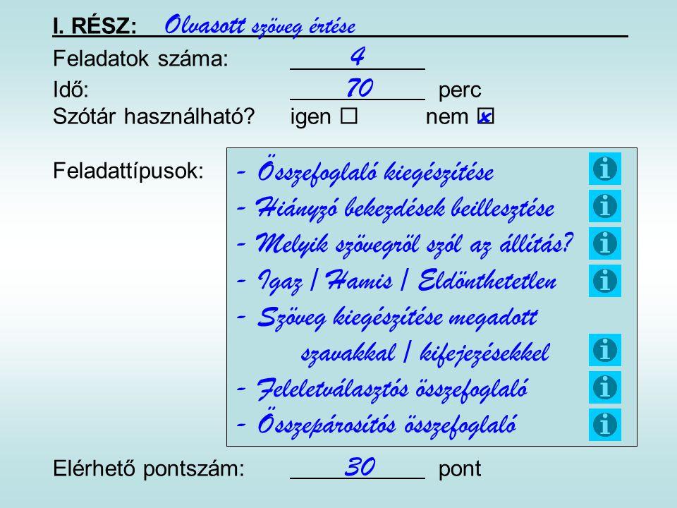 I. RÉSZ: Feladatok száma: Idő: perc Szótár használható?igen  nem  Feladattípusok: Elérhető pontszám: pont Olvasott szöveg értése 70 - Összefoglaló k