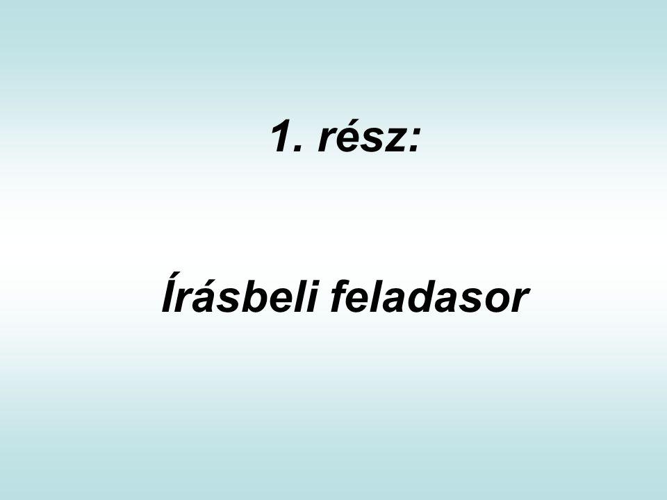 1. rész: Írásbeli feladasor