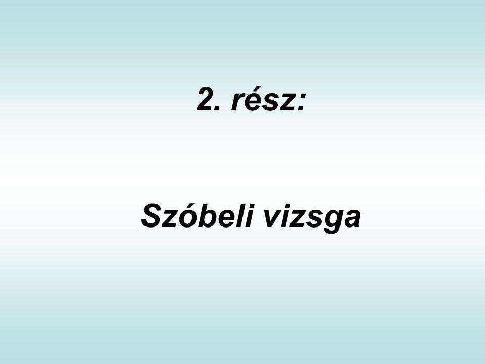 2. rész: Szóbeli vizsga