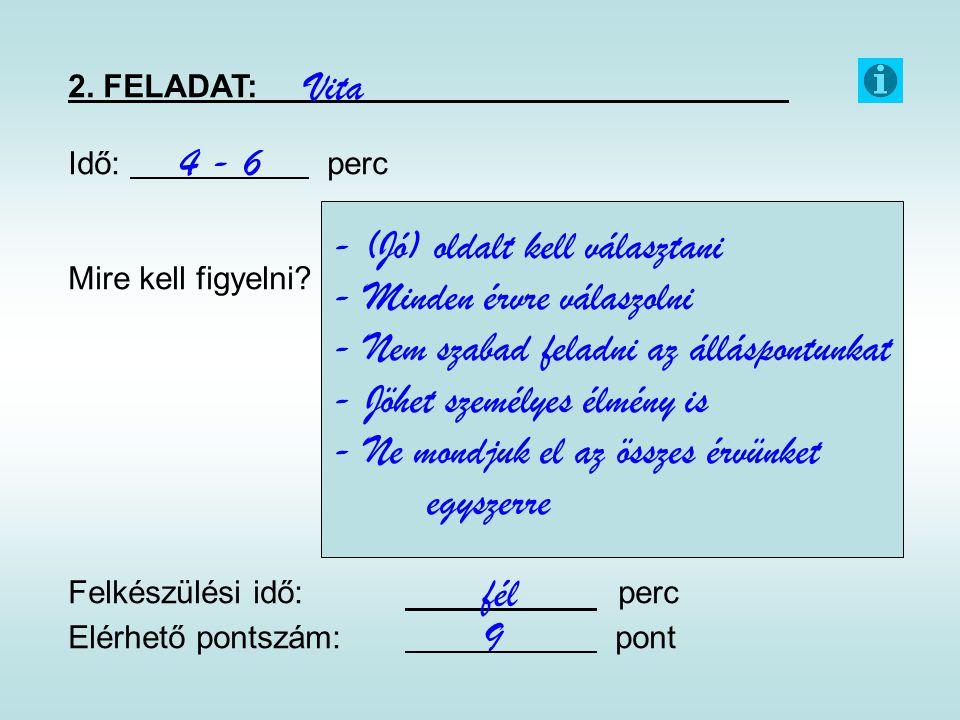 2. FELADAT: Idő: perc Mire kell figyelni? Felkészülési idő: perc Elérhető pontszám: pont Vita 4 - 6 fél 9 - (Jó) oldalt kell választani - Minden érvre