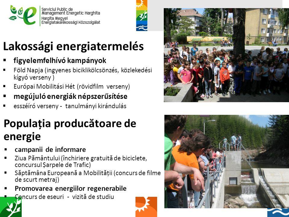 Lakossági energiatermelés  figyelemfelhívó kampányok  Föld Napja (ingyenes biciklikölcsönzés, közlekedési kígyó verseny )  Európai Mobilitási Hét (rövidfilm verseny)  megújuló energiák népszerűsítése  esszéíró verseny - tanulmányi kirándulás Populația produc ă toare de energie  campanii de informare  Ziua Pământului (închiriere gratuită de biciclete, concursul Șarpele de Trafic)  Săptămâna Europeană a Mobilității (concurs de filme de scurt metraj)  Promovarea energiilor regenerabile  Concurs de eseuri - vizită de studiu