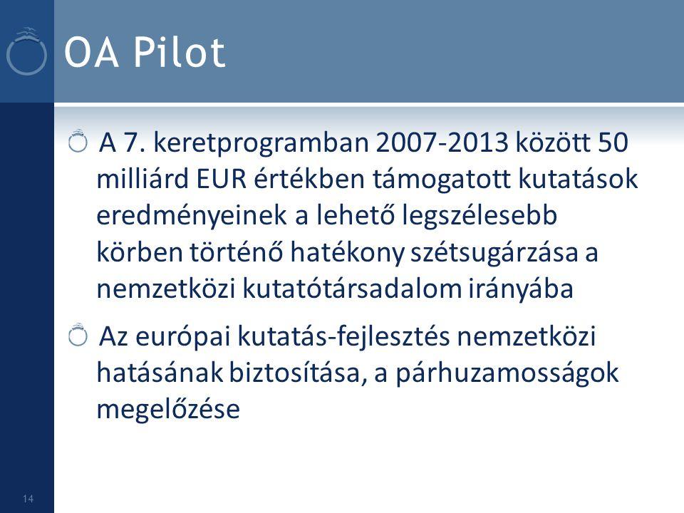 OA Pilot A 7. keretprogramban 2007-2013 között 50 milliárd EUR értékben támogatott kutatások eredményeinek a lehető legszélesebb körben történő hatéko