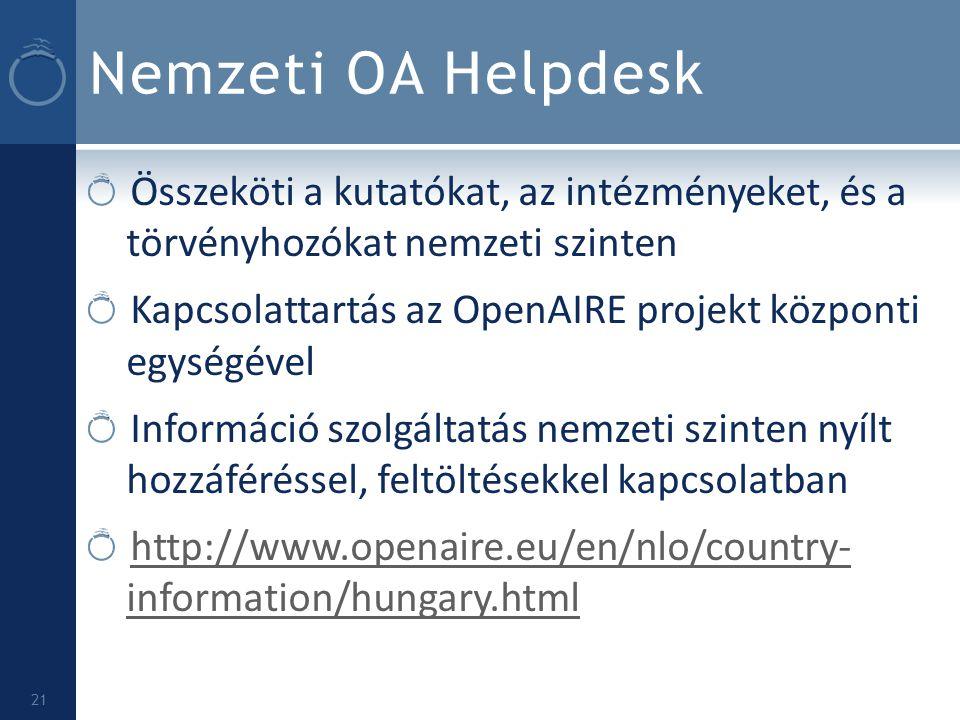 Nemzeti OA Helpdesk Összeköti a kutatókat, az intézményeket, és a törvényhozókat nemzeti szinten Kapcsolattartás az OpenAIRE projekt központi egységév