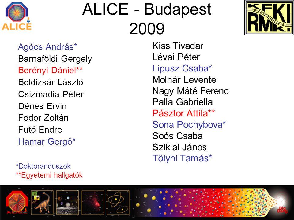 ALICE - Budapest 2009 Agócs András* Barnaföldi Gergely Berényi Dániel** Boldizsár László Csizmadia Péter Dénes Ervin Fodor Zoltán Futó Endre Hamar Ger