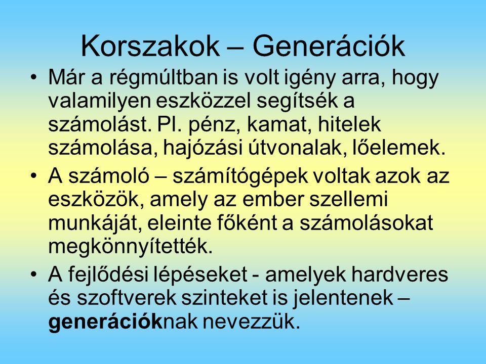 Korszakok – Generációk Már a régmúltban is volt igény arra, hogy valamilyen eszközzel segítsék a számolást. Pl. pénz, kamat, hitelek számolása, hajózá