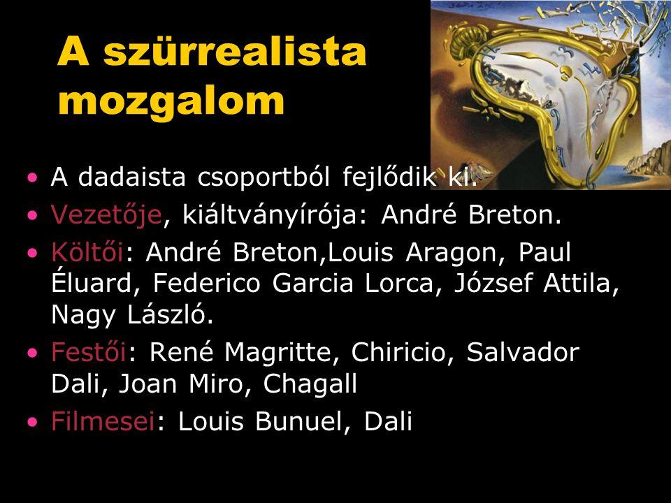 A szürrealista mozgalom A dadaista csoportból fejlődik ki.