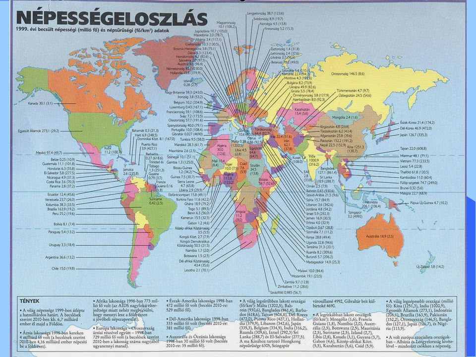 Népességtömörülések A világ népességtömörülései: Ázsiai kettős góc: - Kelet-Kína, Korea, Japán - India, Bangladesh, Indonézia Európai koncentráció: (magterülete Nyugat- és Közép-Európa) Észak-Amerikai koncentráció (az USA észak-keleti része, az Atlanti-part és a Nagy-tavak vidéke) Ezek átlagos népsűrűsége 250-300 fő/km2, de Ázsiában helyenként 1000 fő/km2 is előfordulhat.