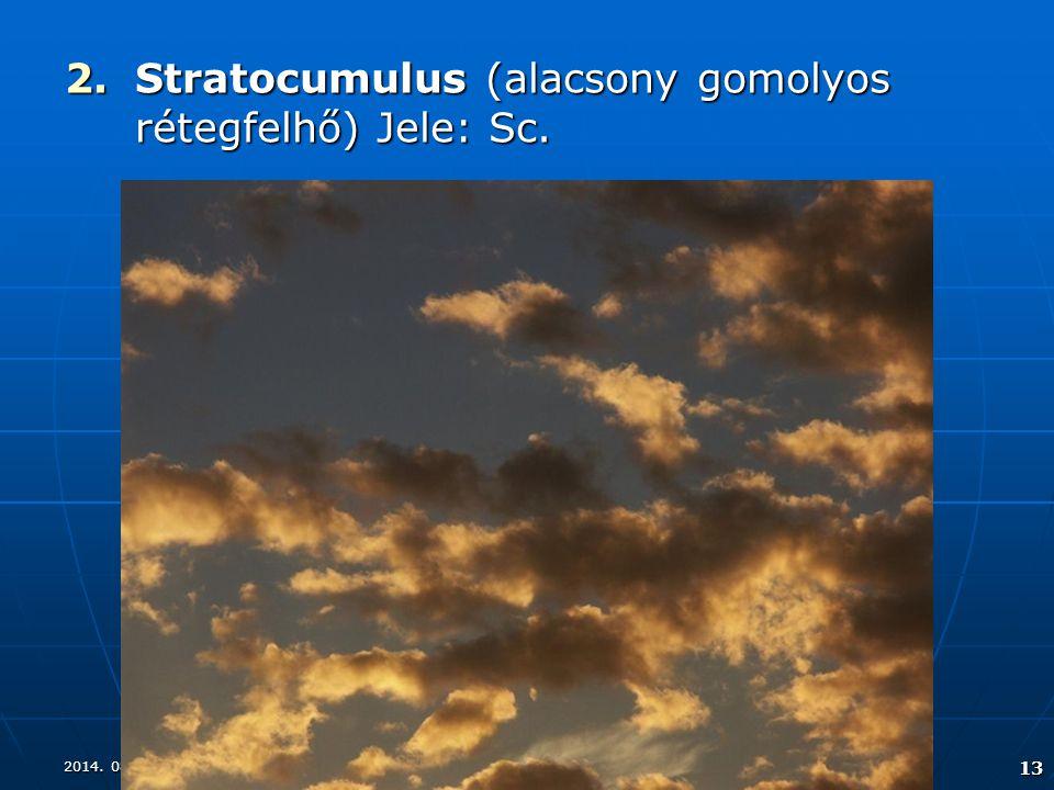 2014. 08. 17.2014. 08. 17.2014. 08. 17. 13 2.Stratocumulus (alacsony gomolyos rétegfelhő) Jele: Sc.