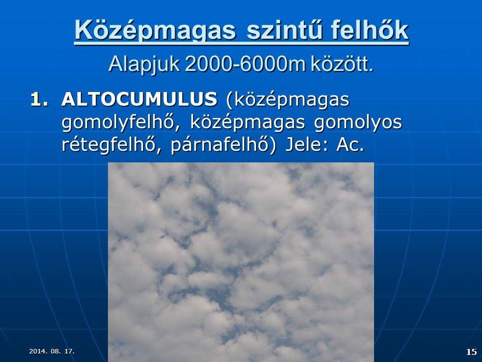 2014. 08. 17.2014. 08. 17.2014. 08. 17. 15 Középmagas szintű felhők Alapjuk 2000-6000m között. 1.ALTOCUMULUS (középmagas gomolyfelhő, középmagas gomol