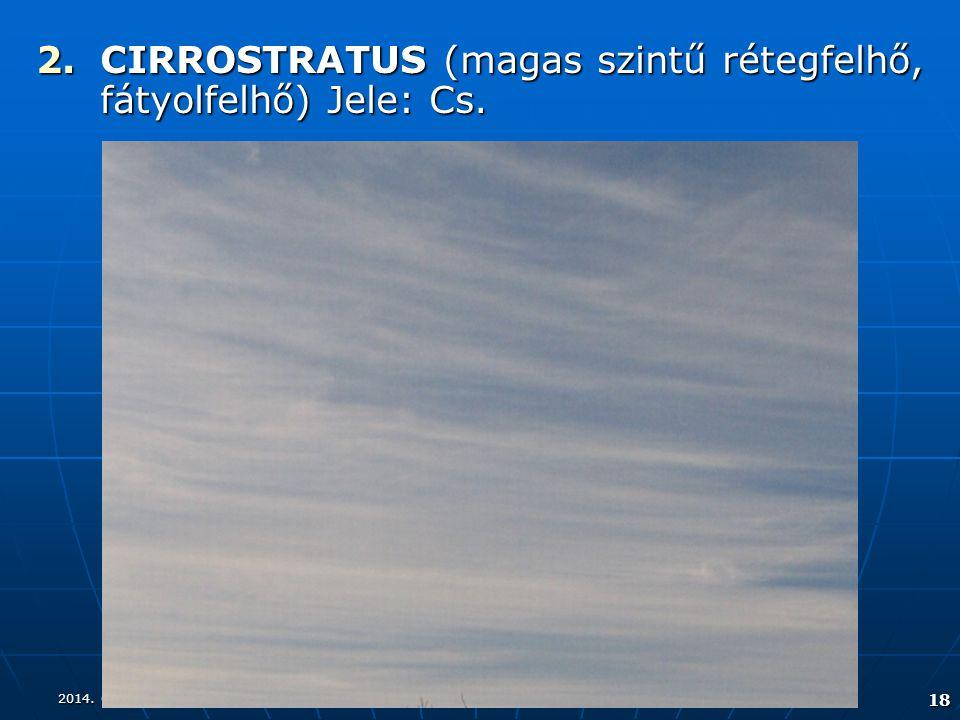 2014. 08. 17.2014. 08. 17.2014. 08. 17. 18 2.CIRROSTRATUS (magas szintű rétegfelhő, fátyolfelhő) Jele: Cs.