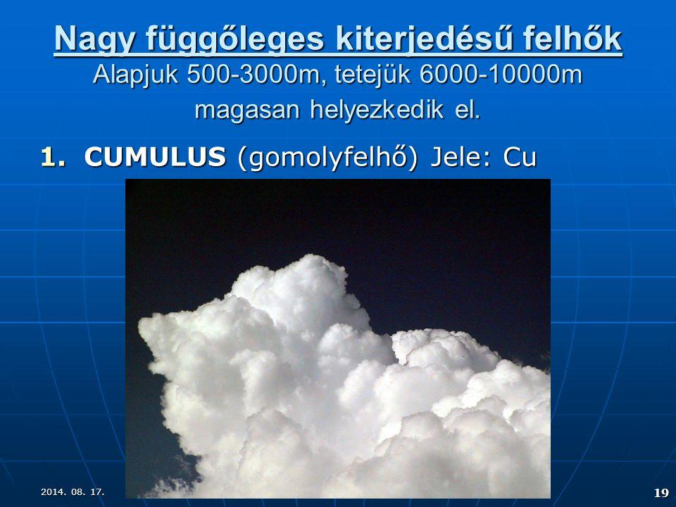 2014. 08. 17.2014. 08. 17.2014. 08. 17. 19 Nagy függőleges kiterjedésű felhők Alapjuk 500-3000m, tetejük 6000-10000m magasan helyezkedik el. 1.CUMULUS