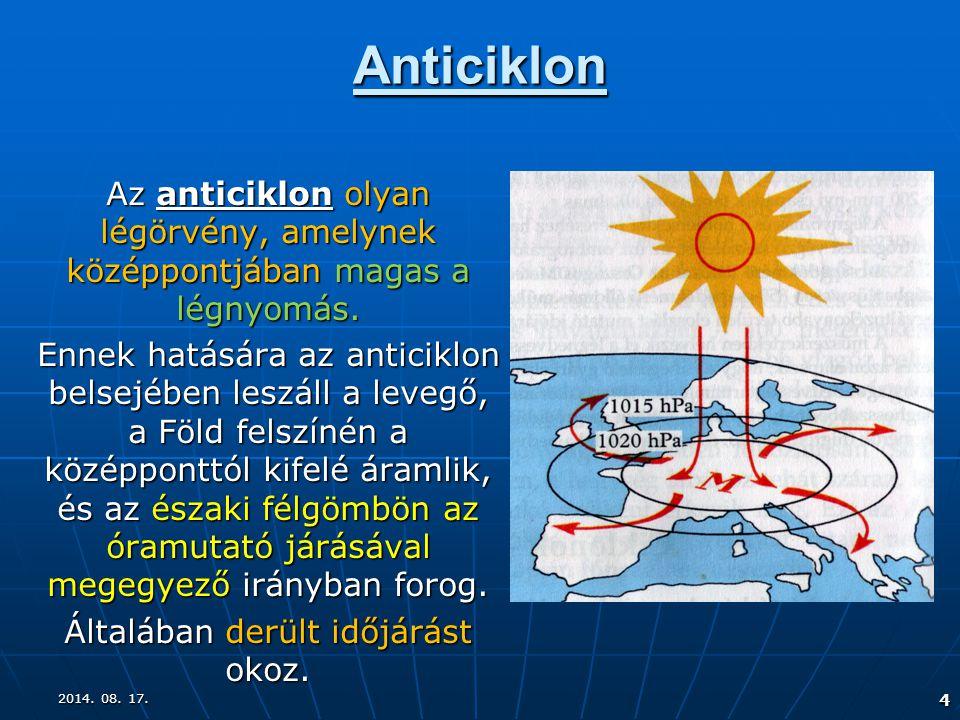 4 Anticiklon Az anticiklon olyan légörvény, amelynek középpontjában magas a légnyomás. Ennek hatására az anticiklon belsejében leszáll a levegő, a Föl