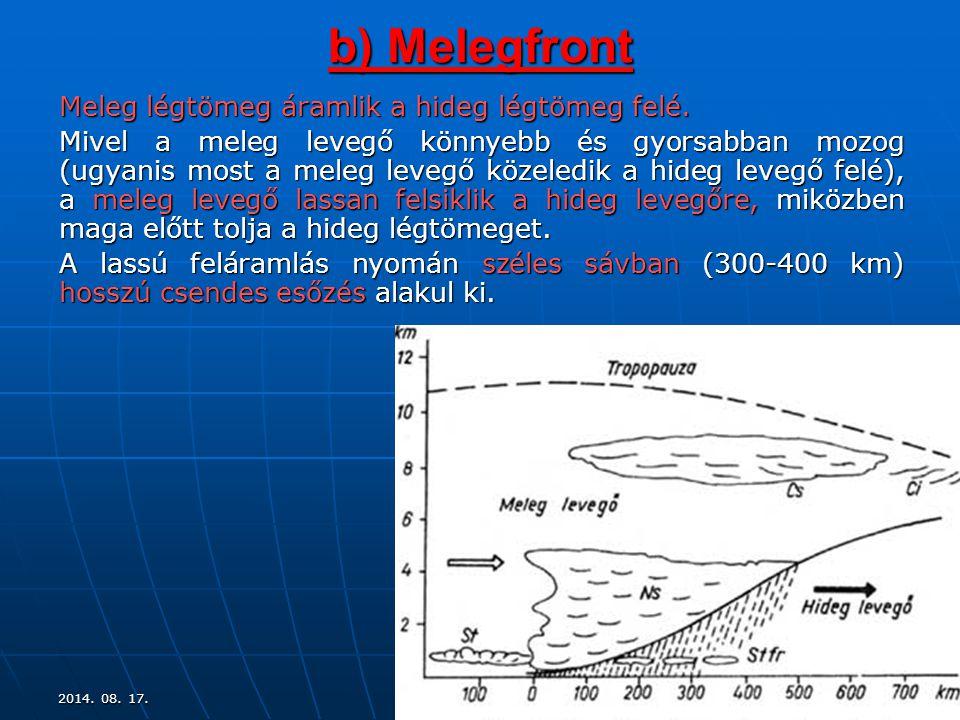 9 b) Melegfront Meleg légtömeg áramlik a hideg légtömeg felé. Mivel a meleg levegő könnyebb és gyorsabban mozog (ugyanis most a meleg levegő közeledik