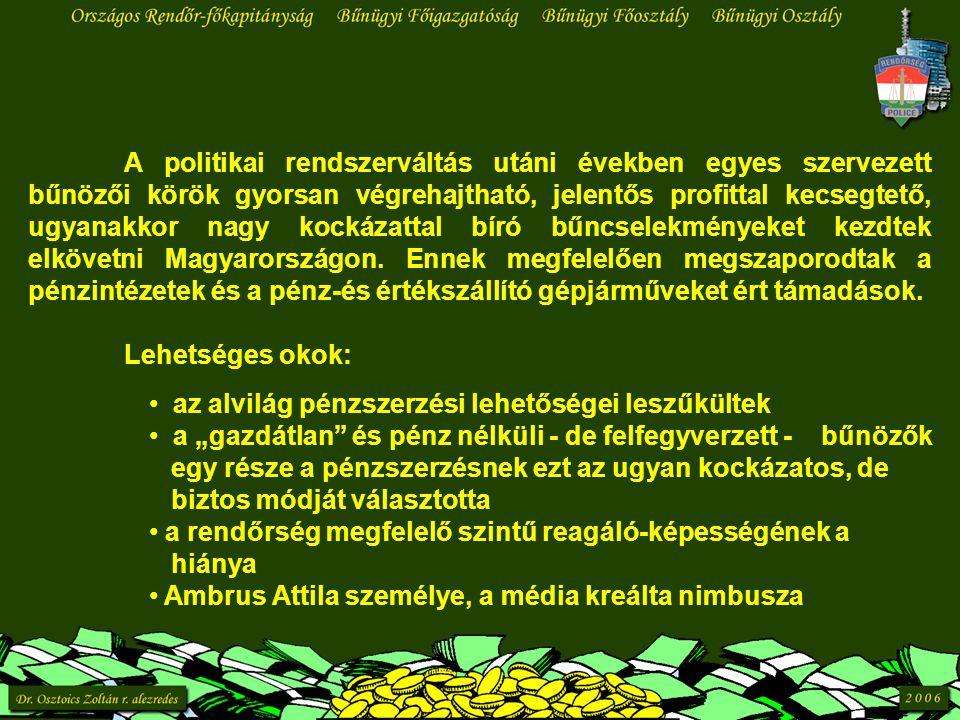 A politikai rendszerváltás utáni években egyes szervezett bűnözői körök gyorsan végrehajtható, jelentős profittal kecsegtető, ugyanakkor nagy kockázattal bíró bűncselekményeket kezdtek elkövetni Magyarországon.