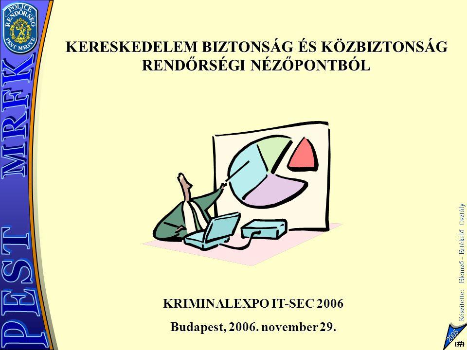 1 Készítette: Elemző – Értékelő Osztály 1 2005 KERESKEDELEM BIZTONSÁG ÉS KÖZBIZTONSÁG RENDŐRSÉGI NÉZŐPONTBÓL KRIMINALEXPO IT-SEC 2006 Budapest, 2006.