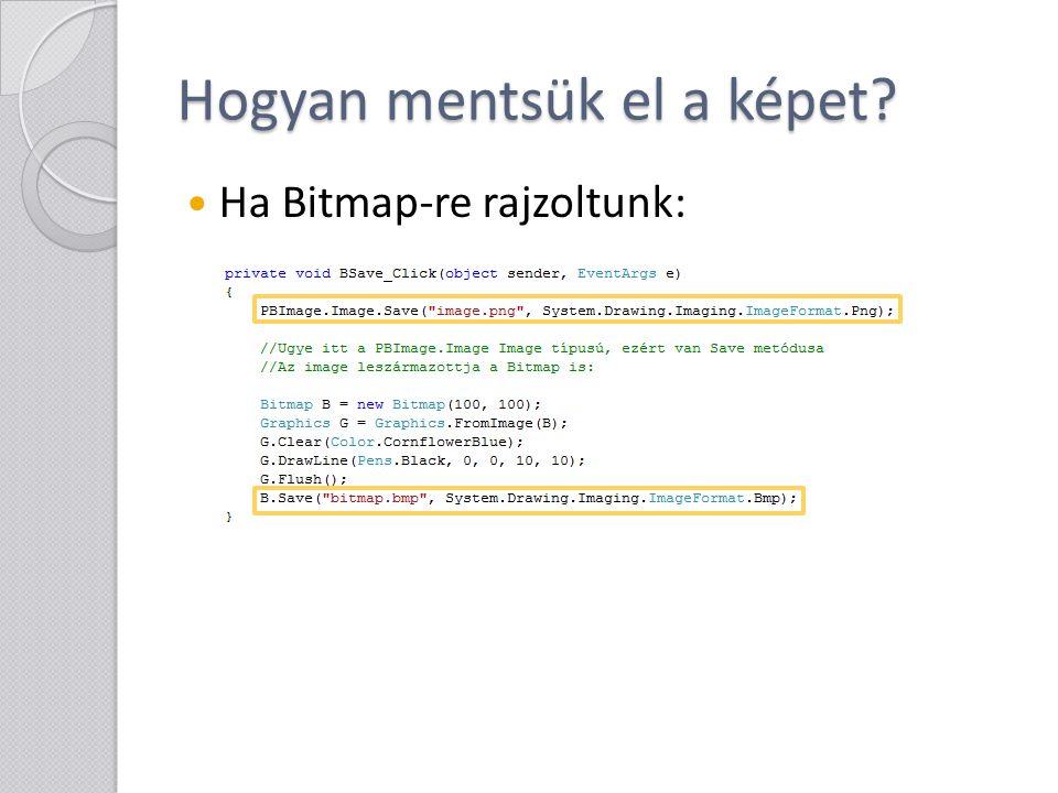 Hogyan mentsük el a képet? Ha Bitmap-re rajzoltunk: